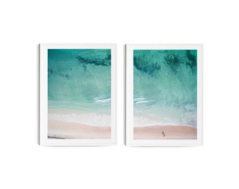 Beach Print 2-Piece Set // Aerial Beach Photography // Beach aerial photo // Beach wall art // Ocean photo // Beach Decor // Home Decor