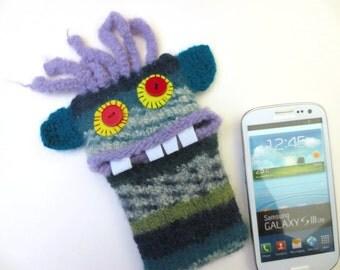 """Smartphone mobile monster, cellphone, supervisor """"Glen"""", wool, knitted, felted, felt, cell phone case, bag, Monster"""
