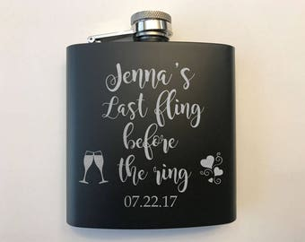 Custom Bachelorette Party Flasks - Bridesmaid Gifts - Bridal Party Flasks - Gift for Bridesmaids - Personalized Bachelorette Party Gifts