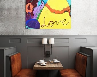 L.O.V.E., 90x90 cm (354x354 in) Abstract painting, Expressionism, Modern Art