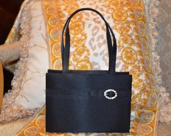 Black jewel buckle adorned satin handled evening, wedding, prom, anniversary purse