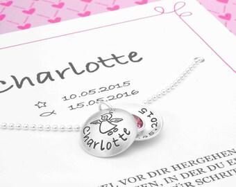 Baptism chain SCHUTZENGELCHEN 925 Silver necklace in gift box-engraved children's jewellery