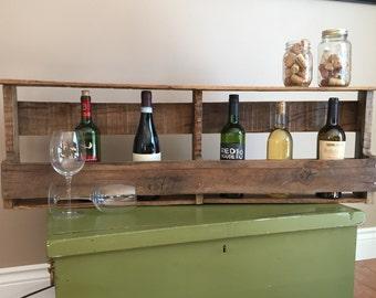 Rustic Handmade Wall Wine Rack, wall mount wine rack, pallet wine rack