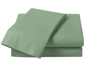 6 pieces of Plain Percale 1xfitted sheet  4xpillow cases ,1xduvet cover double ,Lawn GREEN