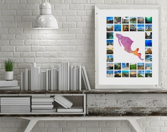 A1/A2/20x16 Customisable Map Travel Photo Collage (Multi-Colour)