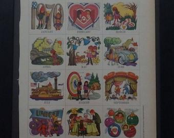 Betsy McCall, Calendar 1970, Ephemera, Collage, Scrapbooking, Vintage, 1969, McCalls Magazine