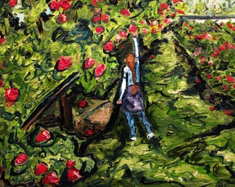 """These days now, we must savor"""" 10x8""""   (Art,original,painting,oil,maxwellbrown,custom,orchard,apples,girl,ponytail)"""