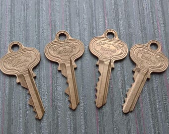 4 Vintage Russwin Brass Keys for your Steampunk, Altered Art, Mixed Media, Assemblage, Jewelry Project!