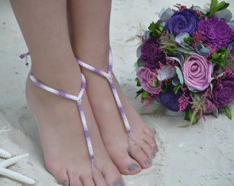 beach wedding, barefoot sandals, crochet anklet, destination wedding, foot jewelry, yoga sandals, yoga jewelry, beach party, purple sandals