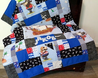 Patchwork quilt, bedspread, blanket, pirates