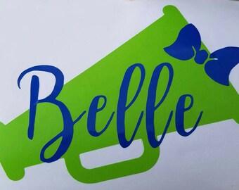 Cheer megaphone decal name sticker