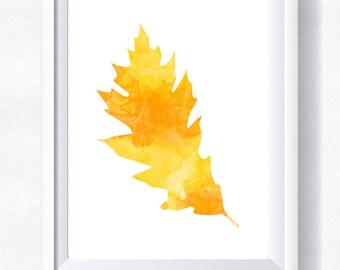 Gold leaf print, autumn leaf printable,  gold leaf watercolor, leaf wall art, leaf clipart, instant download, leaf printable poster