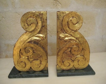 Hand carved gold leaf bookend