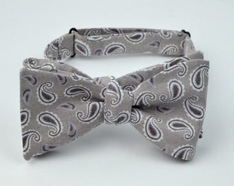 Gray and Black Pattern Bowtie