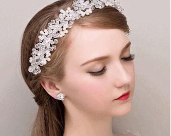 Wedding Bridal Crystal Rhinestone Pearl Headband Tiara// prom headpiece