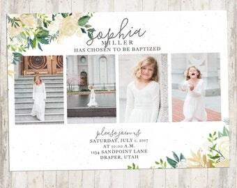 Baptism Invitation, LDS Baptism Invite, First Communion, LDS Baptism Invitation, Girl, Double-Sided, Watercolor Flowers, Digital Download