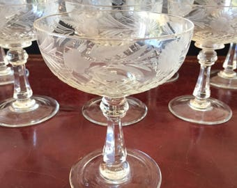 Crystal Champagne Coupes - set of eight