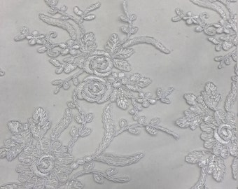 White Floral Lace Mesh Fabric by the yard