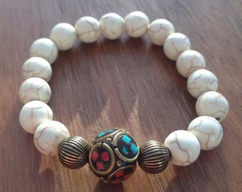 White Turquoise with Tibetan Piece