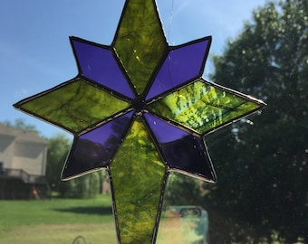 Olive green & purple stained glass star suncatcher