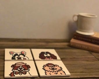 Coaster Set-- Dogs Wearing Accessories