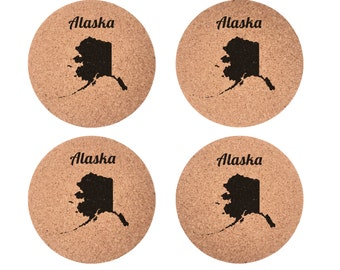 Alaska Set 4pc Coaster Set Cork Home Bedroom Bar