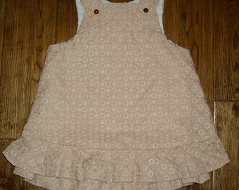 Hand Made Peach Cotton Lined Dress - 18-24 months