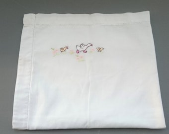 Sweet Vintage Child's Pillowcase Hand Embroidered Ducks