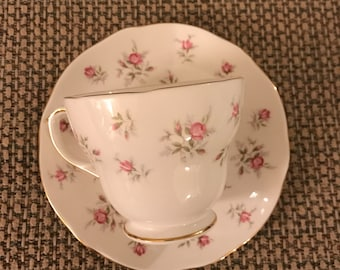 """Duchess """"Marie"""" Pink Floral Bone China Teacup and Saucer"""