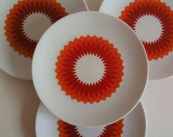 Beautiful cake plate, breakfast plates, orange, white, Bavaria Schumann Arzberg, Germany, 70s, vintage