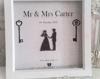Personalised wedding box frame, wedding gift, wall decor, mr & mrs