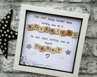 Fathers Day Gift, Daddy Frame, Present For Dad, Fathers Day Husband, Boyfriend On Fathers Day ,Personalised Daddy frame, Scrabble Art Frame