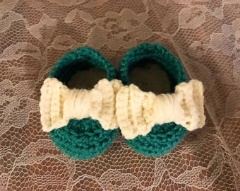 Crocheted Bow Baby Booties