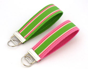 Lime, Pink and Fuschia Keychain Wristlet, Striped, Key Fob, Bag Charm, Choose Your Own Backing Color