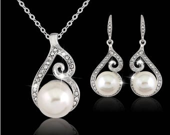 Jewelry sets New FashionSilver White Pearl Jewelry Set for Women Pendant Necklace & Earrings