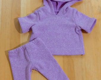 18 inch doll purple  hoodie and legging set #American Girl Doll clothing #Purple hoodie and legging set