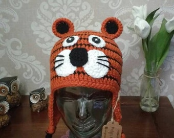 Crochet kids tiger hat with earflaps and 3-10yrs