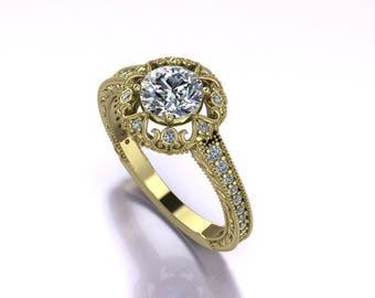 Art Deco Engagement Ring Model, Engagement Ring CAD, 3D CAD, 3DM Files, 3D Print Ready, Digital File, 3D Model, 3D CAD Jewelry, stl