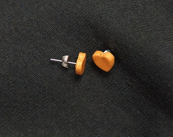 Polymer clay small heart earrings with stainless steel posts. Great for valentine's day. Polymer clay heart jewelry.
