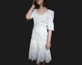 1970 white dress, vintage white dress, midi white dress white lace dress 1970 cotton dress circular flounce dress 1970 midi dress XS
