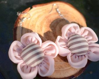 Handmade Flora Earrings-Strip Pink