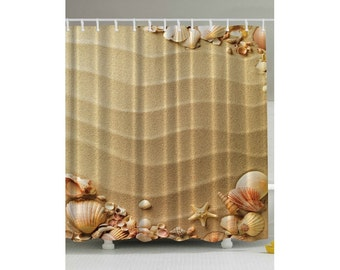 Beach Sand and Sea Shells Shower Curtain Custom Made to Order