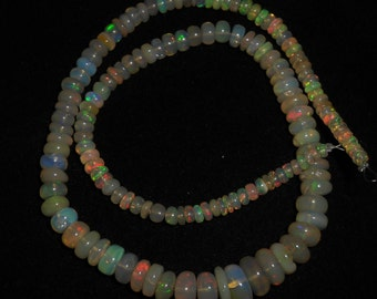 "Natural ETHIOPIAN OPAL smooth beads ,Smooth rondelles, 3 mm -- 9 mm , 15""strand [E0291]"