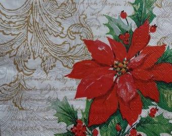 2 Christmas Paper Napkins, Poinsettia Napkins, Decoupage Napkins, Mixed Media Paper, Collage Napkins, Christmas Dinner Napkin (POINSETTIA2)