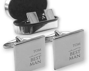 Personalised engraved BEST MAN wedding cufflinks, in a chrome coloured presentation box - NY8