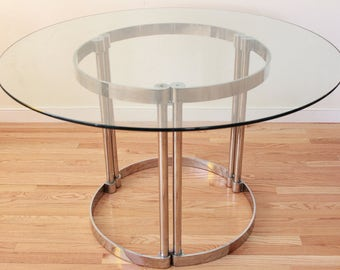 MCM Milo Baughman Style Glass Over Chrome Dining Table