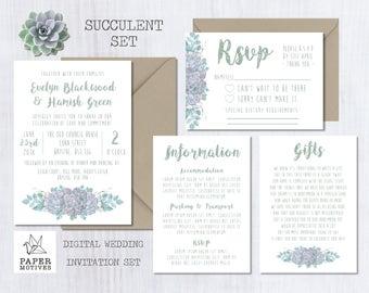 Printable Wedding Invitations - Botanical Succulent Invite, Sage Green, Watercolour, Illustration, Digital, Download