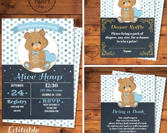 Teddy bear Baby shower invitation, Diaper raffle card, Baby boy invitation, Bring a book insert, Personalize with Adobe Reader - PP025