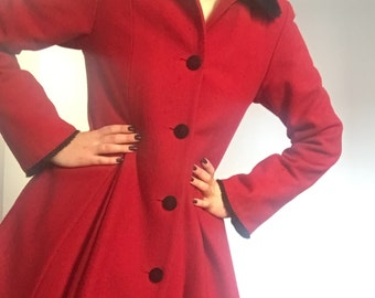 Vintage Look Cherry Red Button Down Pleated Long Sleeve Wool Dress Coat