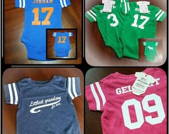 Athletic baby onesie, football onesie, custom onesie, baby shower gift, baby clothes, baby gift, birthday onesie,funny baby gift